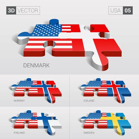 puzzle set: USA and Denmark, Iceland, Norway, Finland, Sweden Flag. 3d vector puzzle. Set 05.