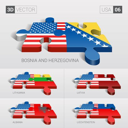 puzzle set: USA and Bosnia and Herzegovina, Lithuania, Latvia, Albania, Liechtenstein Flag. 3d vector puzzle. Set 06. Illustration