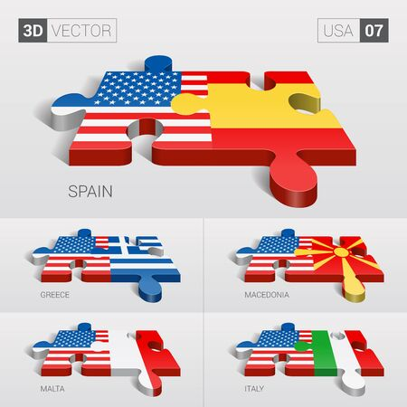 puzzle set: USA and Spain, Greece, Macedonia, Malta, Italy Flag. 3d vector puzzle. Set 07.