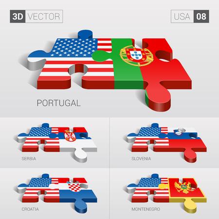 sovereignty: USA and Portugal, Serbia, Slovenia, Croatia, Montenegro Flag. 3d vector puzzle. Set 08.