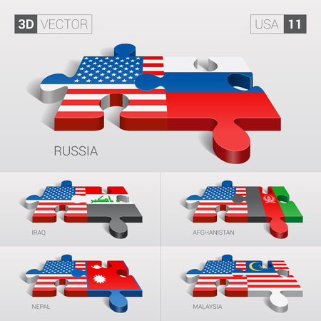 puzzle set: USA and Russia, Iraq, Afghanistan, Nepal, Malaysia Flag. 3d vector puzzle. Set 11. Illustration