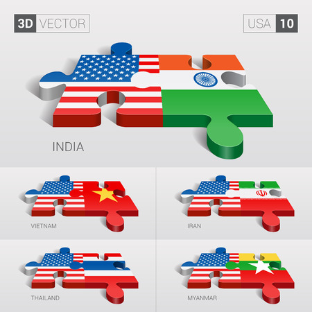 puzzle set: USA and India, Vietnam, Iran, Thailand, Myanmar Flag. 3d vector puzzle. Set 10. Illustration