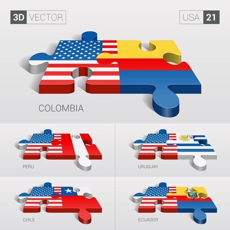 puzzle set: USA and Colombia, Peru, Uruguay, Chile, Ecuador Flag. 3d vector puzzle. Set 21.