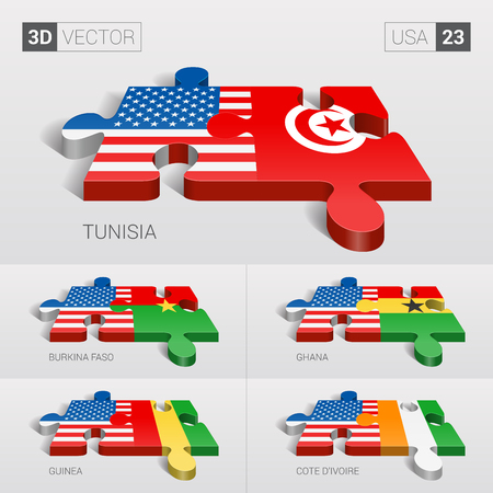 set design: USA and Tunisia, Burkina Faso, Ghana, Guinea, Cote dIvoire Flag. 3d vector puzzle. Set 23.