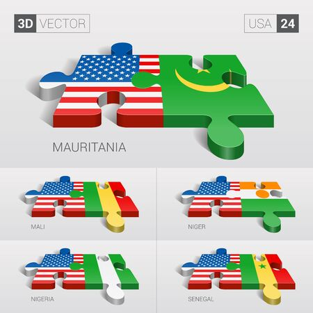 sovereignty: USA and Mauritania, Mali, Niger, Nigeria, Senegal Flag. 3d vector puzzle. Set 24. Illustration
