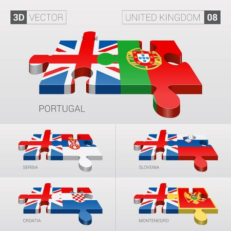 serbia and montenegro: United Kingdom and Portugal, Serbia, Slovenia, Croatia, Montenegro Flag. 3d vector puzzle. Set 08. Illustration