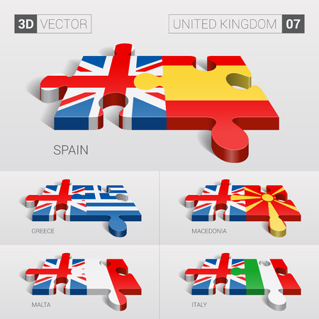 puzzle set: United Kingdom and Spain, Greece, Macedonia, Malta, Italy Flag. 3d vector puzzle. Set 07.