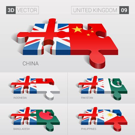 puzzle set: United Kingdom and China, Indonesia, Pakistan, Bangladesh, Philippines Flag. 3d vector puzzle. Set 09.