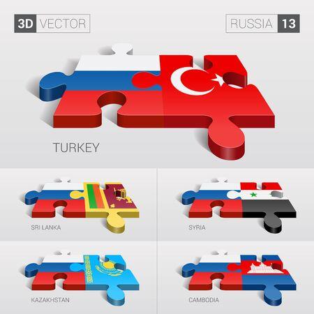sri lanka: Russia and Turkey, Sri Lanka, Syria, Kazakhstan, Cambodia Flag. Illustration