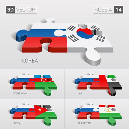 sovereignty: Russia and Korea, Azerbaijan, UAE, Jordan, Tajikistan Flag.