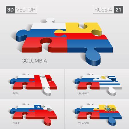 chile: Russia and Colombia, Peru, Uruguay, Chile, Ecuador Flag. Illustration