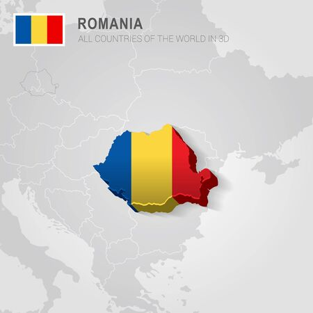 Romania and neighboring countries. Europe administrative map.