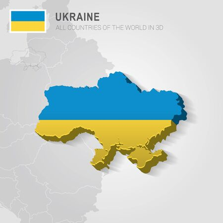 Ukraine and neighboring countries. Europe administrative map. Illustration