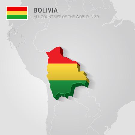 mapa de bolivia: Bolivia pintada con la bandera dibujada en un mapa de grises.