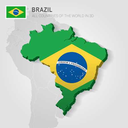 Brazil painted with flag drawn on a gray map.