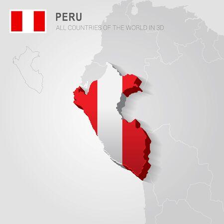 Perú pintó con la bandera dibujada en un mapa gris.