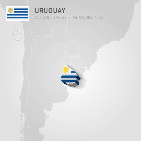 Uruguay painted with flag drawn on a gray map.