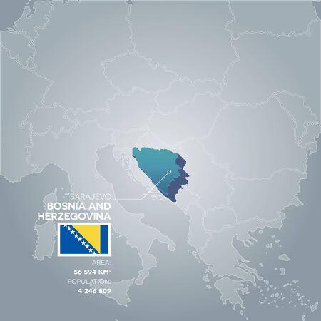 bosnia and herzegovina: Bosnia and Herzegovina information map. Illustration