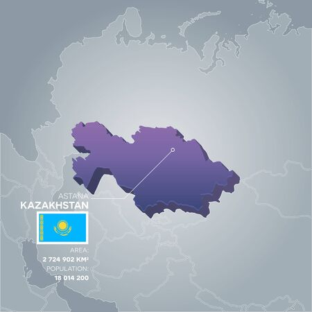 Kazakhstan 3d map with information of area and population of the country.
