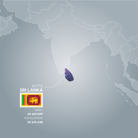 Sri Lanka 3d map with information of area and population of the country. Illustration