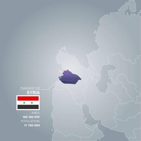 Syria 3d map with information of area and population of the country. Reklamní fotografie - 83392995