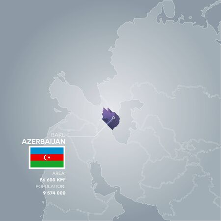 Azerbaijan 3d map with information of area and population of the country. Illustration