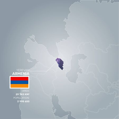 Armenia 3d map with information of area and population of the country. Illustration