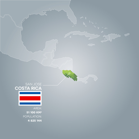 jose: Costa Rica 3d map with information of area and population of the country.