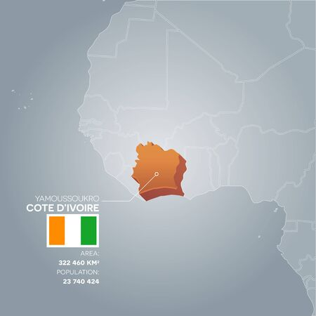 politic: Cote dIvoire information map. Illustration