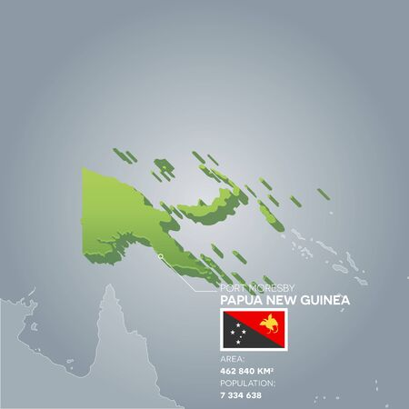 Papua New Guinea information map. Stock Vector - 88674309