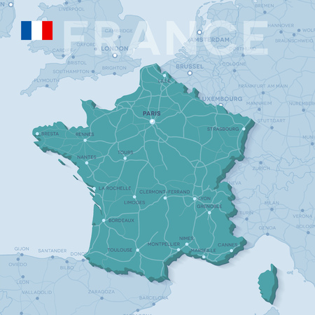 Map of cities and roads in France. Vectores