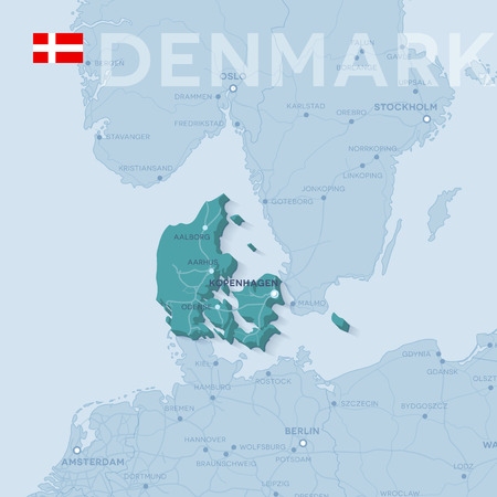 Map of cities and roads in Denmark.