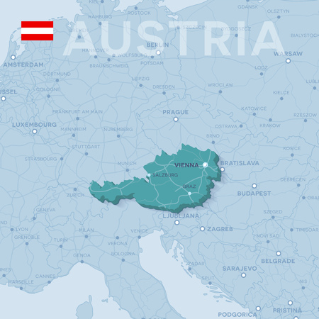 Map of cities and roads in Austria.