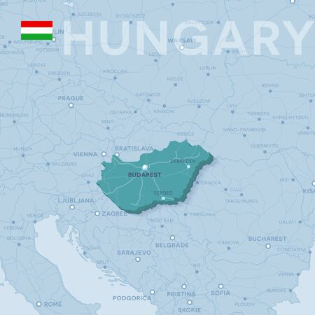 Map of cities and roads in Hungary. Ilustração