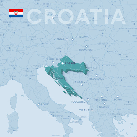 Map of cities and roads in Croatia.