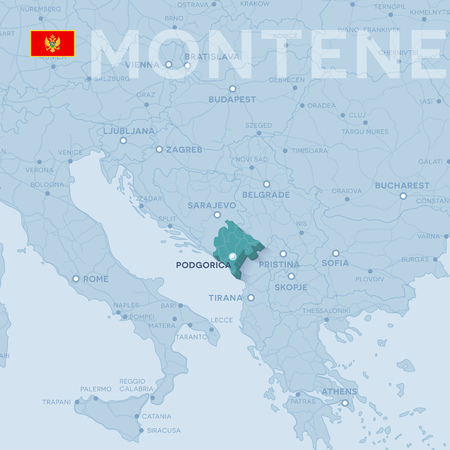 Map of cities and roads in Montenegro. Illustration