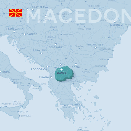Map of cities and roads in Macedonia.