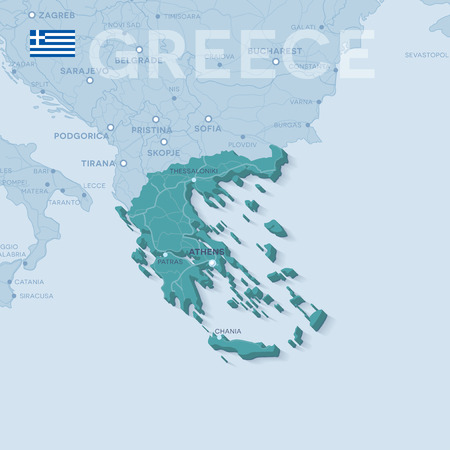 Map of cities and roads in Greece. Illustration