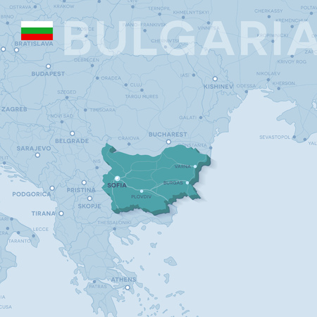 Map of cities and roads in Bulgaria. Illustration