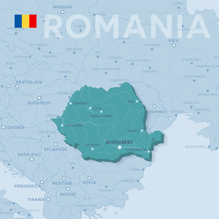 Map of cities and roads in Romania.