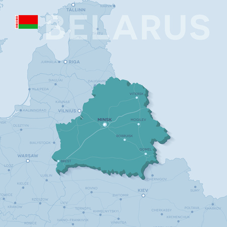 Map of cities and roads in Belarus.