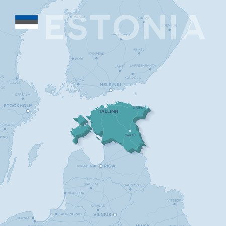 Map of cities and roads in Estonia.