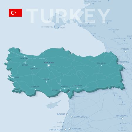 Verctor Map of cities and roads in Turkey.