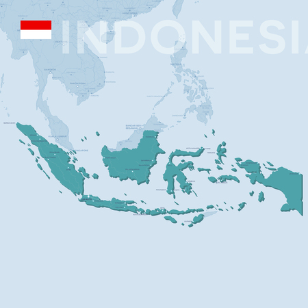 Verctor Map of cities and roads in Indonesia.