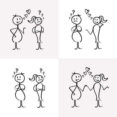 Vector stick figures relationship between lovers.
