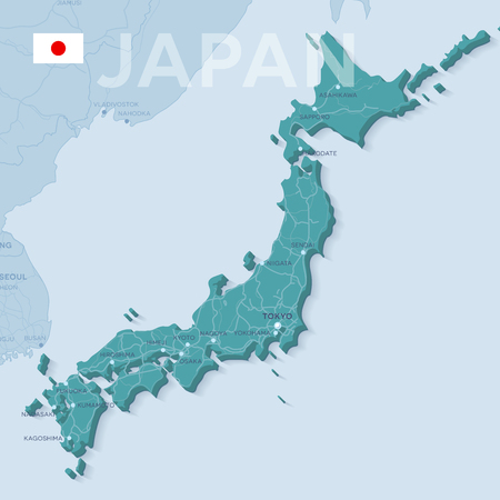 Vector illustration map of cities and roads in Japan.