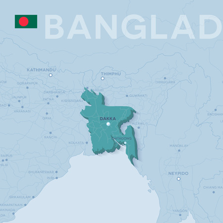 Verctor Map of cities and roads in Bangladesh.