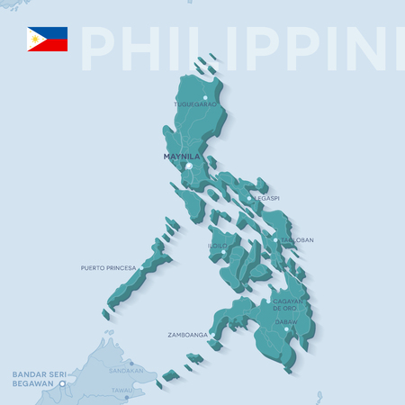 Verctor Map of cities and roads in Philippines.