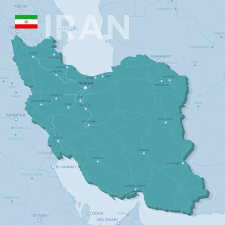 Verctor Map of cities and roads in Iran.