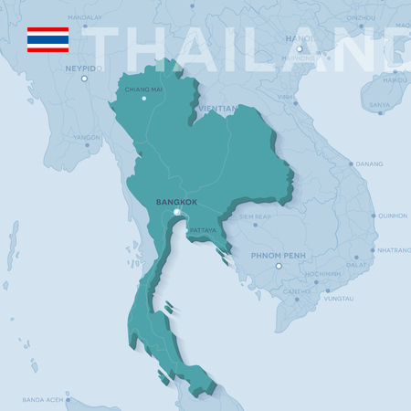 Verctor Map of cities and roads in Thailand.